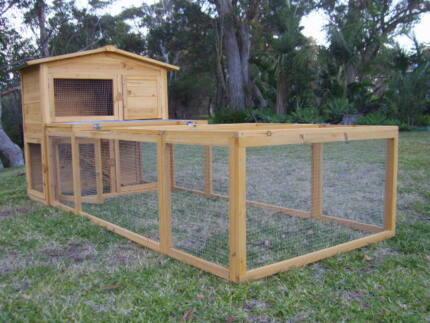Rabbit Guinea Pig Hutch Cage Coop Double Somerzby Villa + RUN