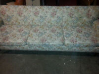 8 ft floral couch pink /blue /cream tones