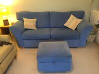 Beautiful and vibrant sky blue sofa, armchair and footstool for sale