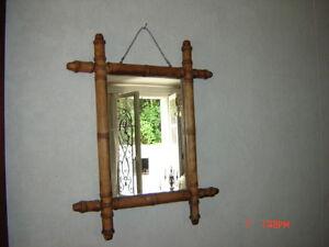 Petit miroir ancien en bambou 1900 ebay for Petit miroir sur pied ancien