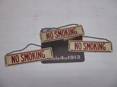 "antique NO SMOKING Painted Aluminum sign great font vintage age 10""x3"" gas oil"