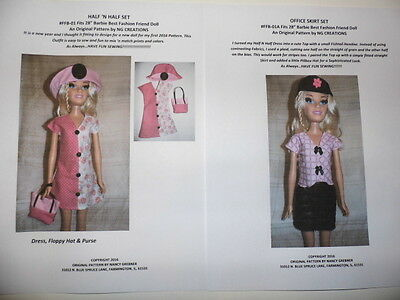"""NG Creations Sewing Pattern #1  fits 28"""" Best Fashion Friend Barbie Doll"""