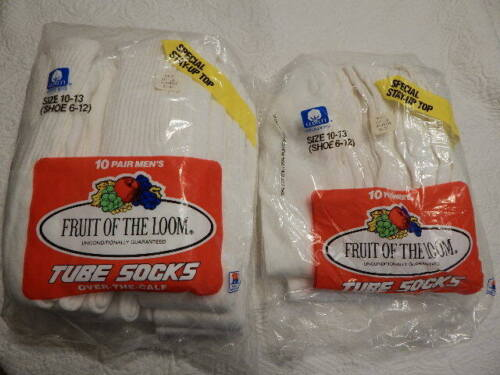 Mens 1980s NOS Fruit of the Loom Tube Socks Over The Calf 15 Pr Athletic Cotton