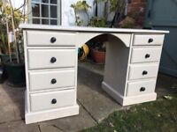Handsome Painted Dressing Table or Desk with 8 Drawers, painted in Rolling Fog by Little Greene