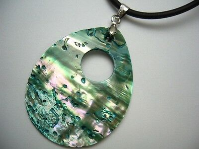 Genuine Paua Shell Pendant Teardrop Shape 2mm Rubber Cord Necklace 18