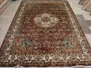 WOW BROWN IVORY FLOWRAL HAND KNOTTED RUG CARPET FB-1759