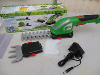 CORDLESS GRASS,HEDGE AND SHRUB TRIMMER,RECHARGEABLE (NEW IN BOX)