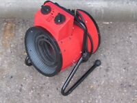 3KW INDUSTRIAL FAN HEATER ELECTRIC WORKSHOP GARAGE SHED ROUND SPACE RED