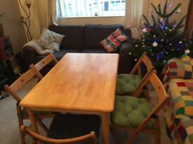 Dining table and 5 foldaway chairs
