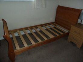 single bed frame Oak coloured pine