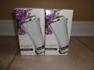 Set of 2 decorative crystal glass vase planter pot New in box