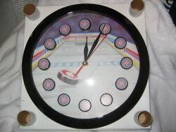 NEW IN BOX,SPORTS  HOCKEY THEME 11  ROUND QUARTZ WALL CLOCK - SHARP