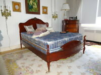 Mahogany Double Bed Frame with Mattress & Box Spring