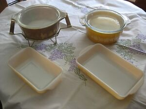 Pyrex casseroles and lustre ware