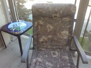 Outdoor Lounge Chair (fabric & metal)[ Price Reduced -need gone]