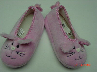 NWT Toddler Girls Slippers Pink Bunny Bunnies Gingham Check Soft Warm Easter