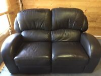 2 SEATER CHOCOLATE BROWN LEATHER RECLINER SOFA