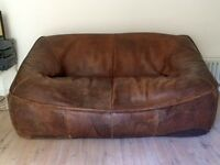 Vintage Worn Leather Brown Sofa - Shabby/Chic £350