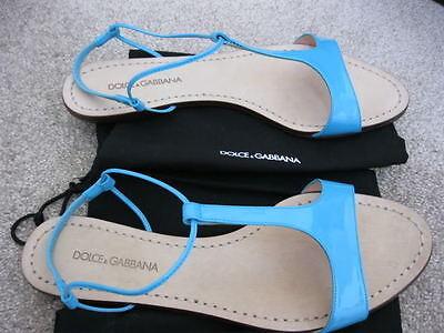NIB Authentic Dolce & Gabbana Blue Sandals size 38.5 / 8.5 patent leather shoes