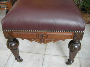 antique Victorian ottoman, footstoolnew burgundy leather