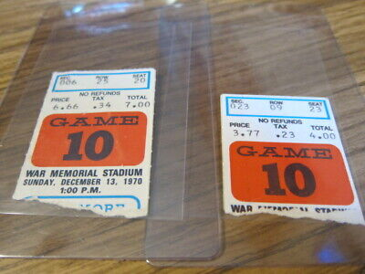 2 - 1970 Ticket Stubs Buffalo Bills vs. Baltimore Colts 12/13/1970