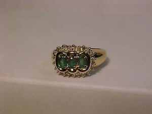 #296-14K y/w/gold-3 NATURAL EMERALD-22 DIAMOND-size-7.APPRAISAL