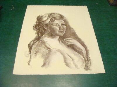 Vintge Original LESLIE SNOW (Feron) Art - SIGNED -- apros 19 1/2 x 24 1/2 WOMAN