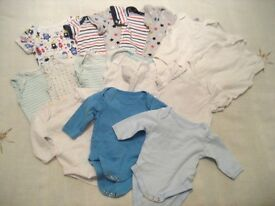 0 - 3 MONTHS. 17 x BODYSUITS BUNDLE, LONG/SHORT SLEEVES, MOTHERCARE/EARLY DAYS (BAG 2)