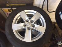 Mitsubishi lancer 5 stud alloy wheels with tyres