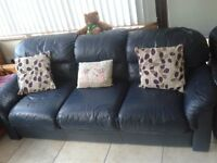 Dark blue leather suite for sale 3 seater plus 2 chairs