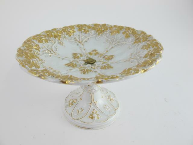 Meissen 19th Century High Relief Heavy Gold Grape Pedastal Fruit Bowl Tray Dish