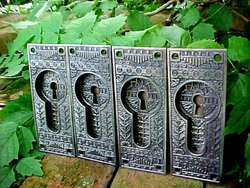 4 ANTIQUE VICTORIAN EASTLAKE CAST IRON POCKET DOOR KEYHOLE LOCK PLATE HARDWARE