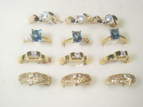 12 .... RINGS VINTAGE  DESIGNER SIMULANTED DIAMOMDS CUBIC ZIRCONIA CZ