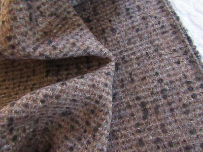 "Vtg Lightweight WOOL Fabric 56""x3yds CHOCOLATE BROWN w/ Black & Gray"