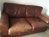 3 Seater Brown Leather Habitat Sofa