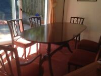 Dining room table, chairs (6-8 seaters) and sideboard