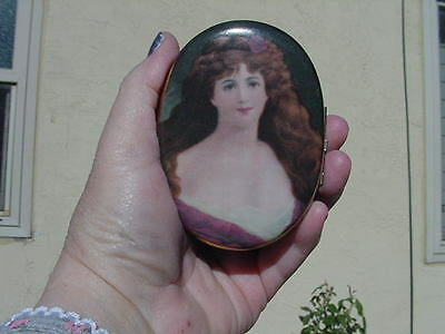 Antique Trinket Box Porcelain, Brass, Hand Painted and Early Transfer