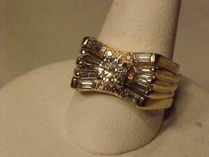 #3403- A REAL EYE CATCHER--1.02 CARAT DIAMOND ENGAGEMENT RING & JACKET BAND-APPRAISED $6860.00 SELL $2250.00 EXPRESS S/H