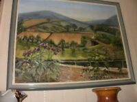 oil on board by artist grace shaw entitled view from kitchen window near scarborough yorkshire moors