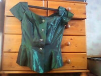 Ladies SKIRT AND BLOUSE in emerald green small size measurements in ad