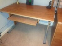 Desks, filing cabinets and bookcases in cherry finish - sell separately or in one lot