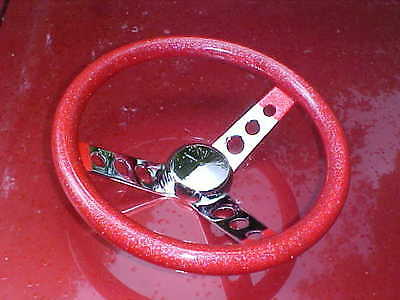RED metal flake & chrome spoke steering wheel,12'' x 3 &1/2,rat rod custom