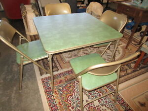 mid century modern folding table and four chairs