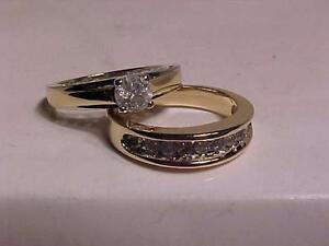 #950-14K W/Y/Gold .56ct Engagement +10k W/Y/Gold band-.30ct.-*FOREVER*ALWAYS*-APPRAISED $5,250.00-SIZE 7+--FREE SHIPING