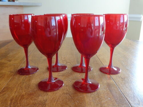 RUBY RED WINE GLASSES LOT OF 6
