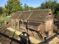Buckingham Chicken House Extended Timber Frame 3 Nest Boxes Perches Run included L 4.5m W1.4m H 2m