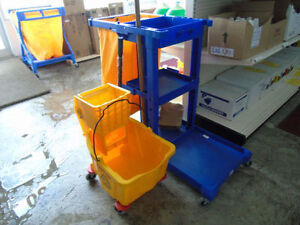 Cleaning supplies, garbage bags, bucket, cart, soap, toilet tiss