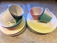 Dinner Set Multi Coloured with Coloured Glasses