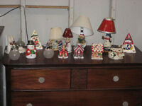 Christmas tea lights,lamps & Misc