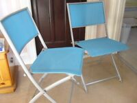 4 blue fabric & metal folding garden patio dining chairs - southbourne